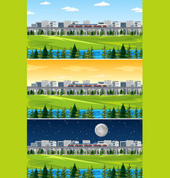 City with nature landscape at different times vector