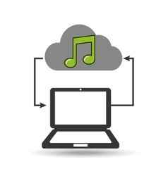 cloud computer connected music note vector image