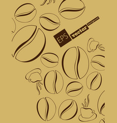 Coffee beans background collection with white vector