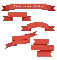 Collection of red retro ribbons banners vector image
