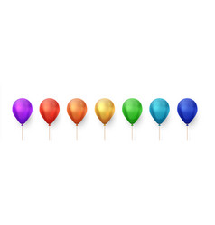 Color balloons realistic birthday and party vector