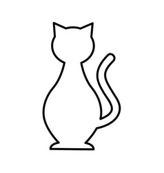 Cute cat mascot silhouette isolated icon vector