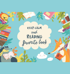 Cute frame composed animals reading books vector