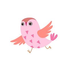 Cute pink owlet running adorable owl bird vector