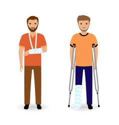 Disability people concept two smiling invalid men vector