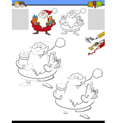 Drawing and coloring worksheet with santa claus vector