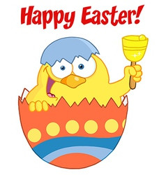 Easter Chick In An Orange Shell Ringing A Bell vector image