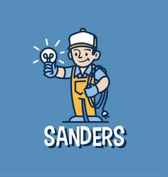 Electrician retro mascot cartoon logo icon vector