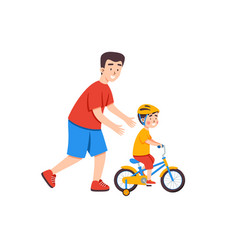 Father teaches child to ride bicycle and supports vector