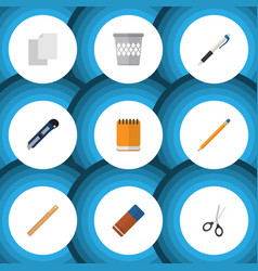 Flat icon stationery set of rubber trashcan vector