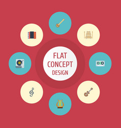 Flat icons acoustic quaver harmonica and other vector