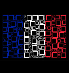 French flag pattern of contour square icons vector