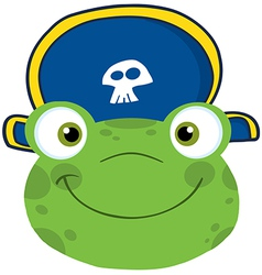 Frog Smiling Head With Pirate Hat vector image