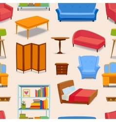 Furniture icons seamless pattern vector image