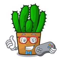 Gamer spurge cactus plant isolated on mascot vector