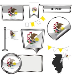 Glossy icons with Illinoisan flag vector