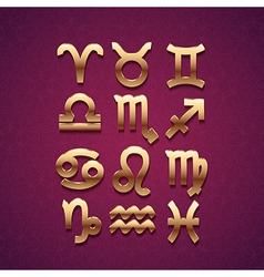 Golden Zodiac Symbol Icons vector image