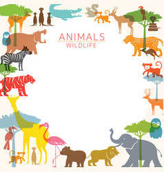 group wild animals zoo frame vector image