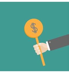 Hand businessman holding dollar coin Flat vector