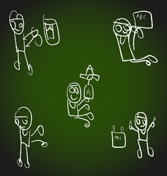 Hand drawn cute happy cartoon kids design vector image