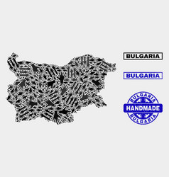 Handmade composition bulgaria map and textured vector
