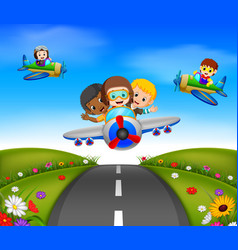 Happy kids riding on a plane vector