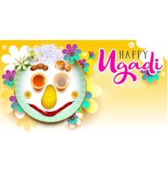 happy ugadi text traditional indian holiday food vector image