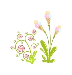Ice-Cream And Hard Candy Flowers Fantasy Candy vector
