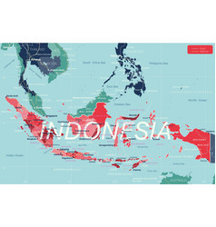 Indonesia country detailed editable map vector