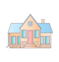 isolated house on white flat icon suburban vector image