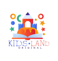 Kids land logo original creative label template vector