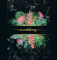 Luxury tropical wedding invitation vector