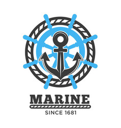 Marine poster with symbols and headline vector