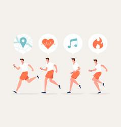 Men running character with smartwatch vector