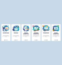 Mobile app onboarding screens digital internet vector