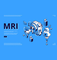 mri scanner with patient and doctor web banner vector image