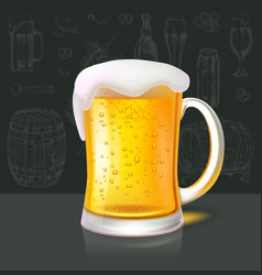 Mug of refreshing cold beer on background of wall vector