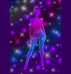 mystical celestial naked woman in standing pose vector image