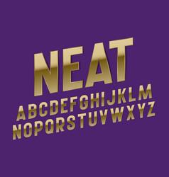 Neat alphabet luxurious golden font isolated vector