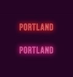 Neon name of portland city in usa text vector