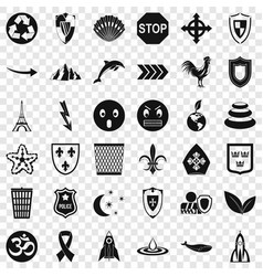 Nice emblem icons set simple style vector