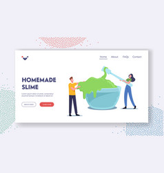 People making homemade slime landing page template vector