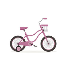 Pink bike with training wheels kids bicycle vector