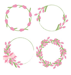 pink tulip wreath frame for spring or mothers day vector image