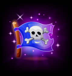 pirate flag video game icon with sparkles on dark vector image