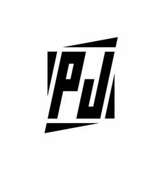 Pj logo monogram with modern style concept design vector