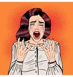 Pop Art Depressed Crying Woman Screaming vector