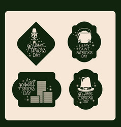 Poster happy saint patricks day of emblem set with vector