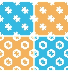 Puzzle piece pattern set colored vector