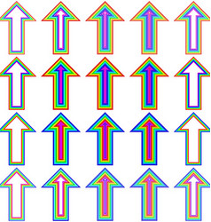 Rainbow line arrow design set vector image
